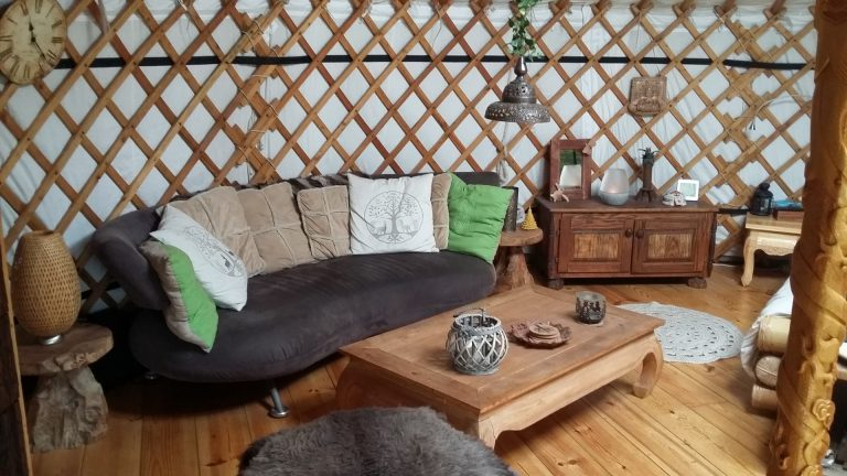living room in yurt